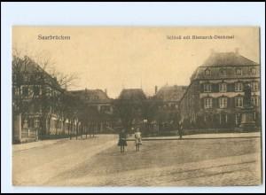 U9473/ Saarbrücken Schloß mit Bismarck-Denkmal AK ca.1915