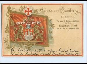Y15487/ Hamburg schöne Wappen Fahne Litho Prägedruck AK 1904