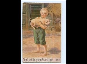 Y15299/ Junge mit Ferkel Schwein Landwirtschaft AK 1919