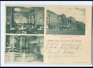 U9547/ Hamburg St. Pauli Konditorei + Cafe Kohlmann, Reeperbahn 58 AK 1902