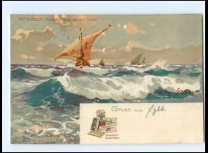 Y15170/ Willy Stöwer Litho AK Segelschiffe Werbung: Hauswaldt`s ca.1910