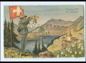 Y15183/ Tagwache La diane Schweiz Soldat Militär Feldpost ca.1940