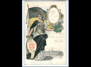 U9705/ Kaiser Franz Josef - Marianne - Briefmarken AK 1904 Kopf geprägt