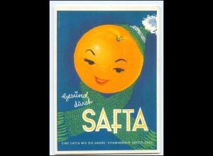 Y15203/ Gesund durch SAFTA-Apfelsine Werbung Reklame AK ca.1955