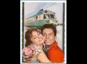 Y15309/ Junges Paar - Eisenbahn AK ca.1965