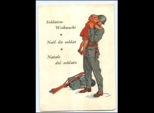 Y15187/ Soldaten Weihnacht Soldat und Kind ca.1940 Schweiz Militär
