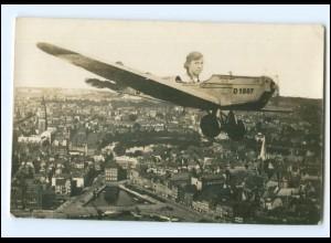 U9683/ Fotomontage Flugzeug, junge Frau Foto AK 1937