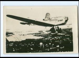 U9684/ Fotomontage Flugzeug, junge Frau Foto AK ca.1935