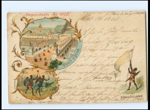 Y15478/ Paris Exposition 1900 Weltausstellung Zoulouland Litho AK