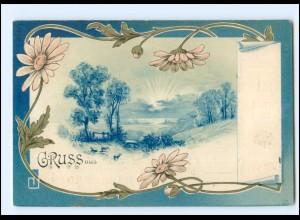 Y15623/ Gruß aus Litho AK Jugendstil 1898