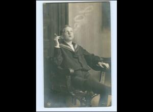 Y15636/ Junge raucht Zigarre schöne Foto AK 1907