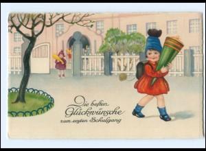 Y15643/ Einschulung Mädchen mit Schultüte Litho Ak ca.1930