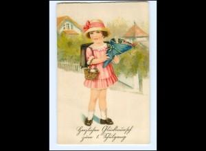Y15644/ Einschulung Mädchen mit Schultüte Litho Ak ca.1930