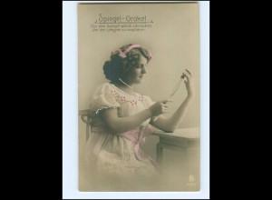 Y15652/ Junge Frau - Spiegel-Orakel schöne Foto AK 1911