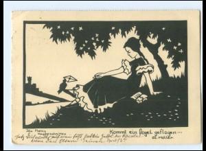 Y15656/ Ida Mehls Schattenbild AK Kommt ein Vogel geflogen 1936