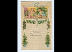 XX009779/ Weihnachten Kinder Puppe Spielzeug Litho Präge Ak ca.1910