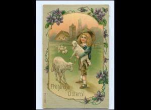 XX009171/ Ostern Junge mit Lamm Litho Präge Ak 1908