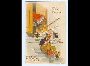 XX009210/ Neujahr Mann stürzt die Treppe hinunter Humor Litho Ak ca.1910