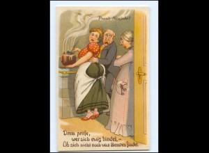 XX009211/ Neujahr Küche Humor Litho Ak ca.1910