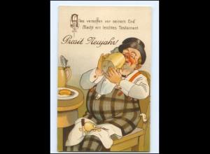 XX009209/ Neujahr dicker Mann trinkt Bier Humor Litho Ak ca.1910