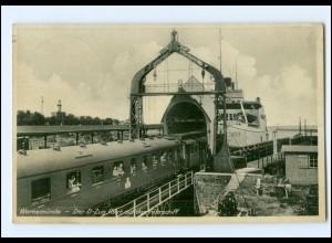 XX009179/ Warnemünde Eisenbahn D-Zug fährt auf die Fähre AK 1938