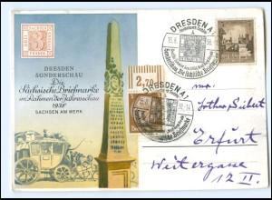 Y15743/ Dresden Sonderschau Die Sächsische Briefmarke 1938 + SST