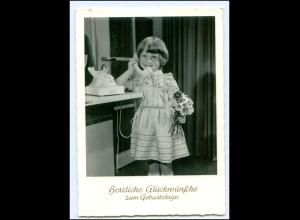 Y15758/ Mädchen mit Telefon Geburtstag AK 1955-60