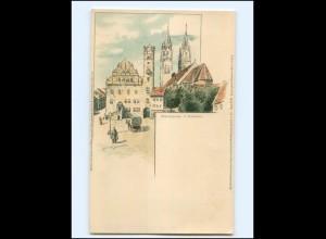 Y15783/ Oschatz Marktplatz Litho AK sign: G. Steinbach ca.1900