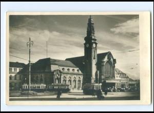 Y15936/ Luxemburg Care centrale Bahnhof Straßenbahn Foto AK 1947