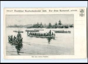 Y15977/ Indianer rudern auf dem Hudson USA, Dt. Knabenkalender 1908 AK