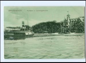 Y15847/ Gravenstein Kurhaus Schiff AK Nordschleswig 1909