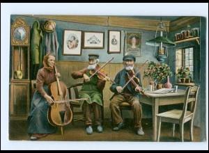 Y15861/ Flensburg Glück im Winkel - Trachten Typen musizieren AK 1909