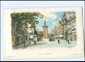 U9959/ Elbing Alter Markt Hoffmann`s Stärke Werbung Reklame-Karte Litho ca.1905