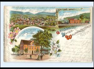XX009348/ Gruß aus Unter- Waldmichelbach Litho AK mit Bahnhof 1904 + Bahnpost