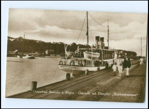 XX009481-185./ Sassnitz a. Rügen Ostmole mit Dampfer Stubbenkammer 1932 Foto AK