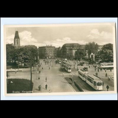 XX009354/ Breslau Königsplatz Straßenbahn Foto AK ca.1935