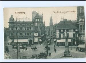 XX009726/ Königsberg Münz-Platz Straßenbahn AK Ostpreußen 1915