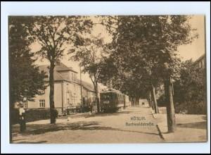 XX009358/ Köslin Buchwaldstraße Straßenbahn Pommern AK ca.1928
