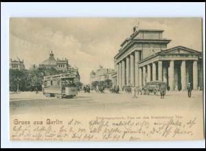 XX009556/ Berlin Reichstagsgebäude Brandenburger Tor Straßenbahn 1903 AK