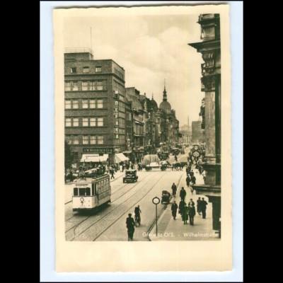 XX009649/ Gleiwitz Schlesien Wilhelmstraße Straßenbahn Foto AK ca.1938