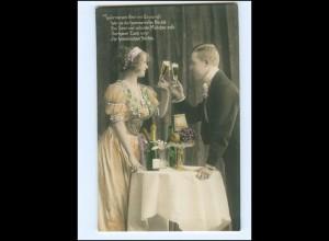 Y16165/ Junges Paar trinkt Sekt schöne Foto AK ca.1910