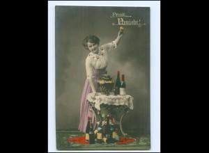 Y16162/ Neujahr Frau Bowle und Wein Foto AK 1912