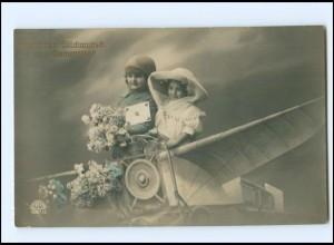Y16128/ Namenstag Kinder im Flugzeug Foto AK 1910