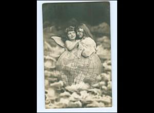 V124/ Fotomontage Kinder Mädchen Engel Weltkugel schöne Foto AK 1906