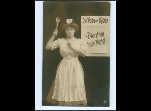 V088/ Wochentag Dienstag - Die Woche der Köchin - Foto AK 1908