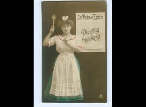 V087/ Wochentag Dienstag - Die Woche der Köchin - Foto AK 1908