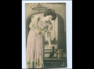 Y16078/ Neujahr Frau mit Sekt Foto koloriert AK ca.1910