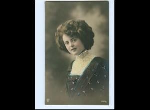 Y16074/ Junge hübsche Frau Foto koloriert AK ca.1910