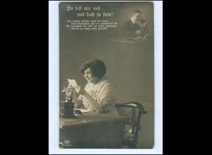 V068/ Frau mit Telefon Fotomontage Foto AK 1915