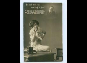 V067/ Telefon Frau telefoniert Fotomontage Foto AK 1915